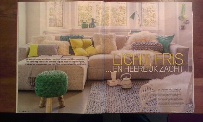 Margriet tijdschrift mooie kleuren interieur blauw geel grijs woonkamer fris huiselijk