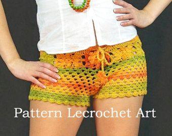 Patrón ganchillo para mujer pantalones cortos de color de descarga instantánea de verano - cortocircuitos de la playa de patrón - patrón PDF