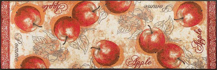 Details:  Malerisches Motiv mit Äpfeln, Feine beige-rot Töne mit warmen Akzentfarben, Direkt vom Garten Eden in Ihre Küche, Mit rutschhemmender Rückenbeschichtung,  Qualität:  1,9 kg/m² Gesamtgewicht, 7 mm Gesamthöhe, Rücken 100% Nitrilgummi, Rutschhemmende Beschichtung auf der Unterseite,  Flormaterial:  100% Polyamid,  Wissenswertes:  Waschbar bei 60° C, Trocknergeeignet bis zu 90° C oder fla...