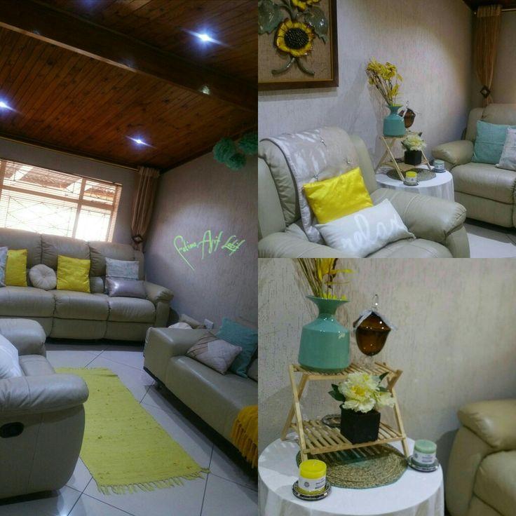 Yellow and aqua sitting room