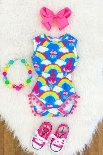 3706ea1098c Newborn Kids Baby Girl Rainbow Tassel Romper Jumpsuit Bodysuit Outfit  Sunsuit US