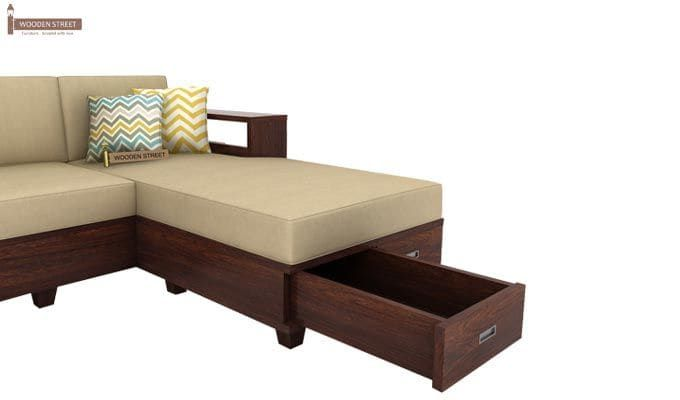 Buy Solace L Shaped Wooden Sofa Walnut Finish Online In India In 2020 Wooden Sofa Designs Living Room Wall Designs Living Room Sofa Design
