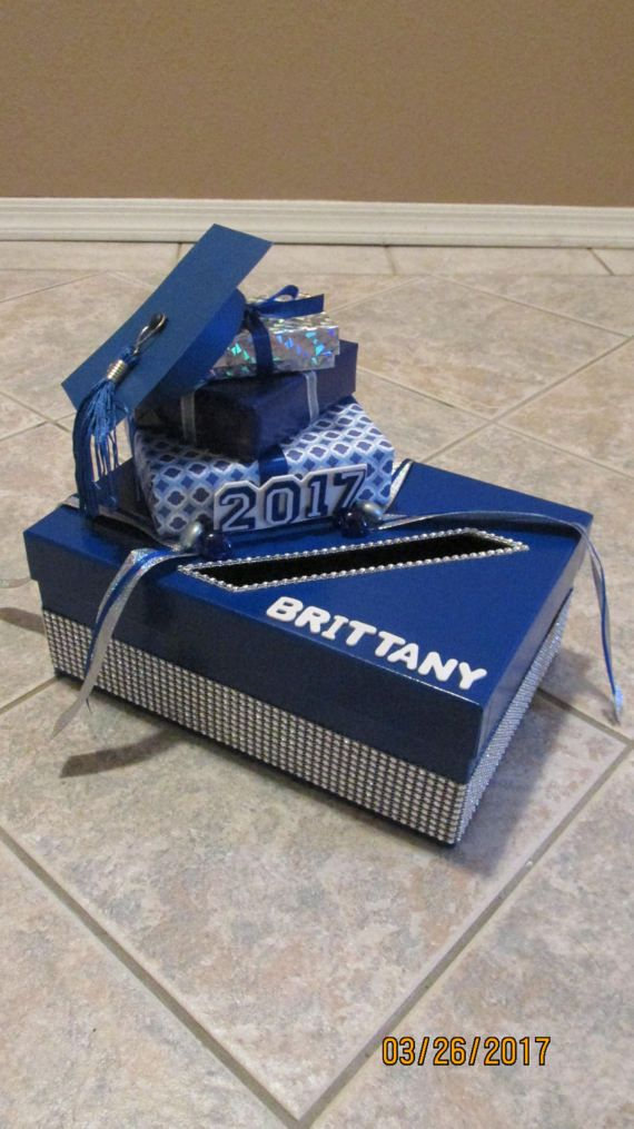 Graduation/Party Card Box with Year & Grad's Name and Rhinestones