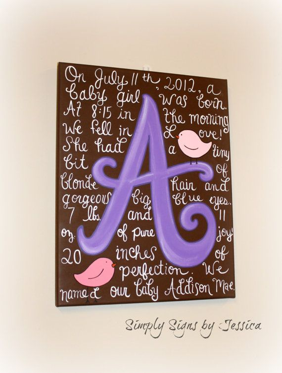 Custom Birth Story Canvas Painting for Baby's by SimplySignsByJess