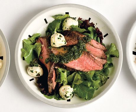 Flank Steak Salad with Chimichurri Dressing: Fun Recipes, Chicken Recipes, Summer Meals, Date Night Dinners, Dresses Recipes, Flank Steaks Salad, Chimichurri Dresses, Weeknight Dinners, Steak Salad