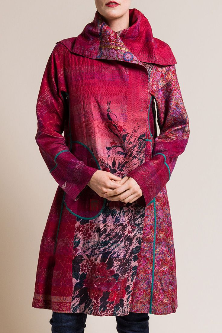 $1,260.00 | Mieko Mintz 2-Layer Vintage Silk Long A-Line Jacket in Pink | Mieko Mintz creates clothing from vintage saris, which are upcycled into new fashion. The reversible clothing is an artful multi-pattern combination of by Mieko that is then made into kantha fabric. Sold online and in-store at Santa Fe Dry Goods in Santa Fe, New Mexico.