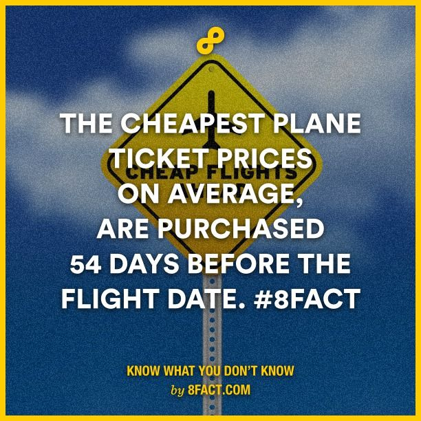 The cheapest plane ticket prices on average, are purchased 54 days before the flight date.