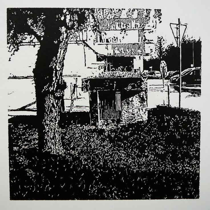 Dolný Šianec 1013-1 Keramoprojekt [printmaking, cutting into MDF]  #printmaking #woodcut #bunker #art