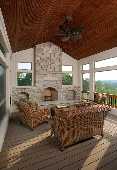 Porch with fireplace from the garden to the table recipes for life pinterest light walls for Covered porch with fireplace
