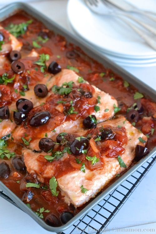 garlic kalamata olives chips seafood cinnamon baked salmon tomatoes ...