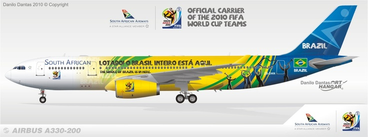 South African Airways A330 Special livery Fifa World Cup 2010 Team Brazil | pop livery ...