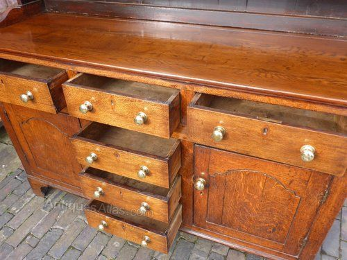 A Lovely George III Oak Dresser with original plate rack six drawers and two cupboards lovely colour and patina in excellent condition. & 59 best Kitchen Dressers images on Pinterest | Kitchen dresser ...