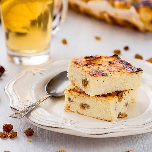 Leichter Low Carb Käsekuchen mit Rosinen
