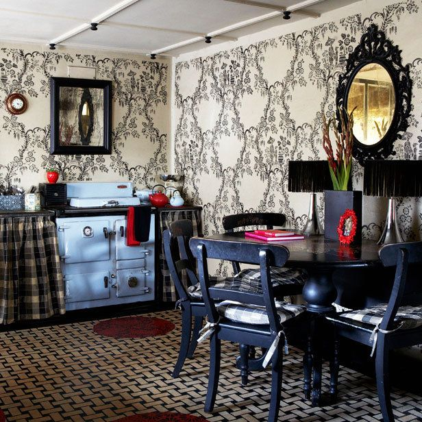bohemian decor and furniture | ... love this wallpapered Bohemian kitchen. Love the black furniture too