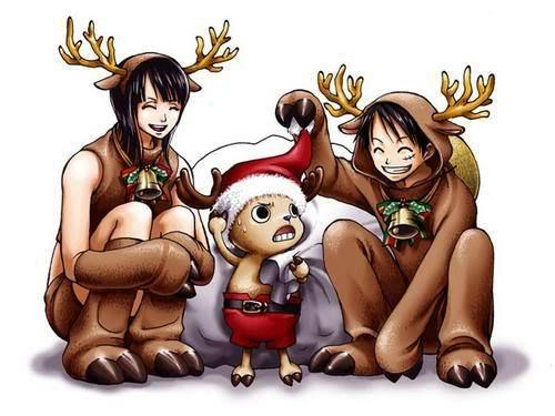 Reindeer christmas robin chopper and luffy one piece - One piece luffy x robin ...