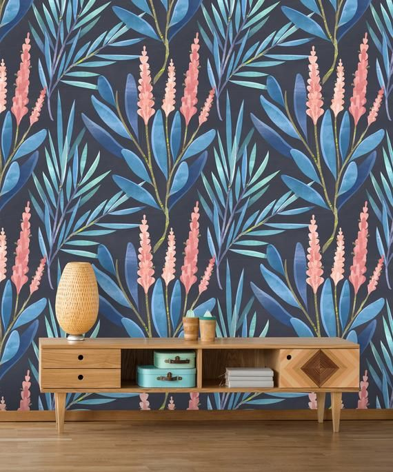 Removable Wallpaper Peel And Stick Floral Pattern Flower Etsy Removable Wallpaper Wallpaper Flower Wallpaper