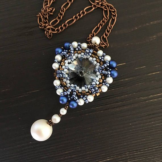 beaded pendant crystal pendant necklace beaded necklace