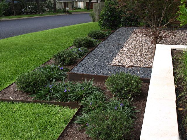 metal landscape edging - bottom row same as this, next row up pebbles, top row plants/tree
