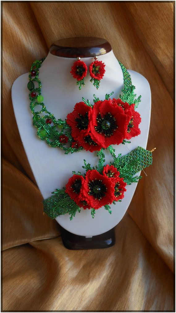 Jewelry Set Red poppies by BeadedJewelryVirunia on Etsy