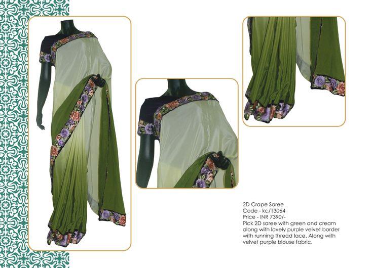 2D crape saree with purple velvet blouse