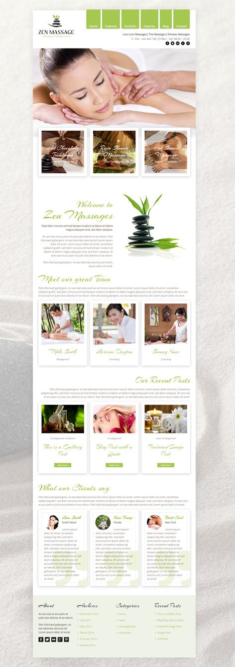 Zen - is a new WordPress Theme specially for massage salons, but also for all other beauty salons. It's unique design is perfect for all massage center related websites. #WordPress #Beauty #Spa #Salon #Theme #Webdesign #Massage #Center