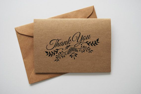 Thank You Card - Kraft Card - Thank-you Card by GraciousMeShop
