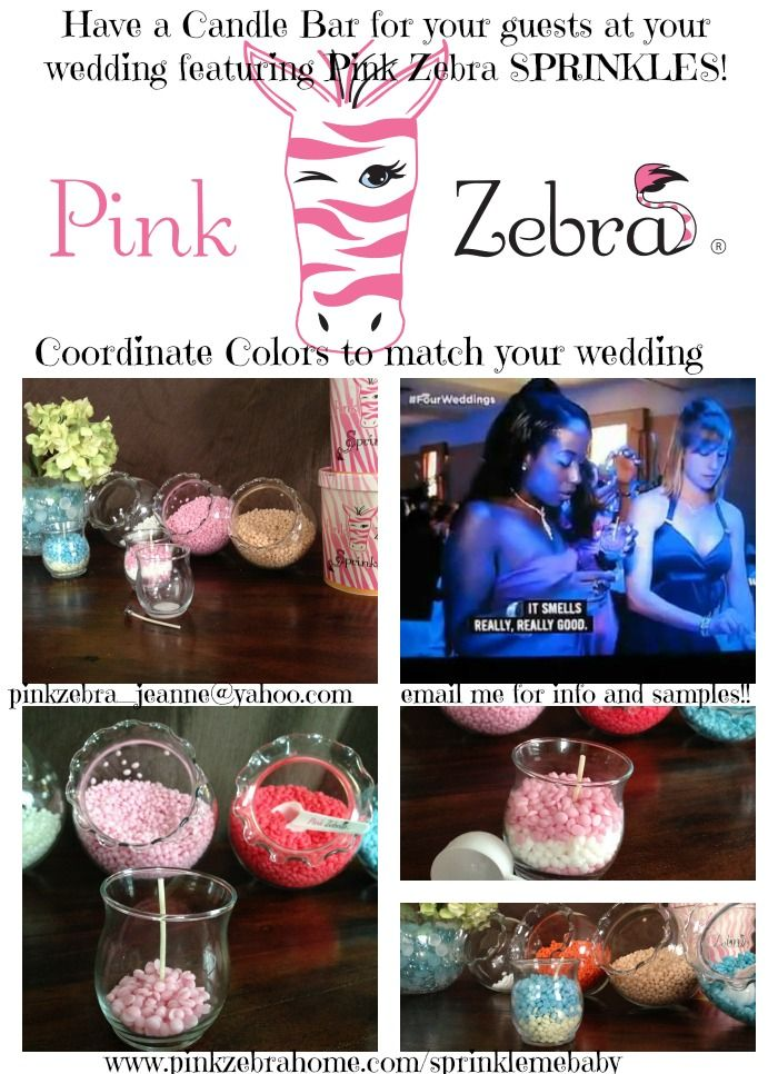 """Wedding Favors Candle Bar featuring Pink Zebra Sprinkles. As seen on TLC, Four Weddings, a Candle Bar is the newest and hottest thing at wedding receptions.  With so many color and scent combinations your custom make-your-own-candle bar will be the talk of the town. Just like the guests said on the show """"It smells really really good"""" email me for more info pinkzebra_jeanne@yahoo.com #weddingfavors #FourWeddings #marthawedding #elegantweddingfavors #candlebar #TLC #pinkzebra  #bridalshow"""