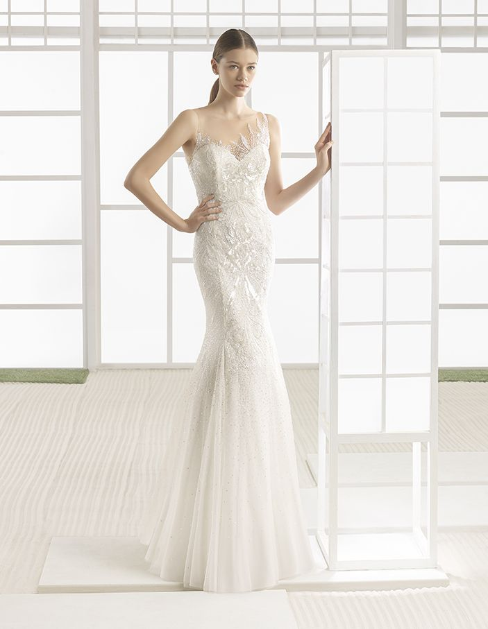 Wilfred - Beaded tulle column dress with sweetheart neckline and embroidered back, in natural/nude.