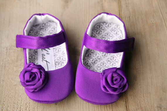 Purple baby girl shoes, deep purple baby slippers, crib ...