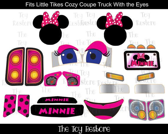 New Replacement Decals Stickers for Little Tikes Tykes Cozy Coupe Truck with Eyes: Mnnie Mouse with Logos