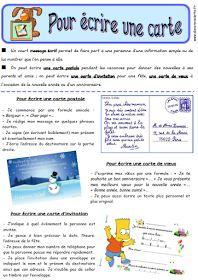 ECRIRE UNE CARTE | Rédaction ce2, Enseignement du français, Lecture compréhension cm1