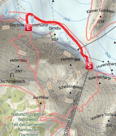 Mapa / Schneespaziergang zur Dachsteinwarte