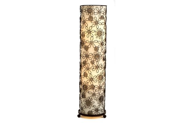 Casa Uno Tall Round Floor Lamp With Floral Patterns Brown Beige Light NEW