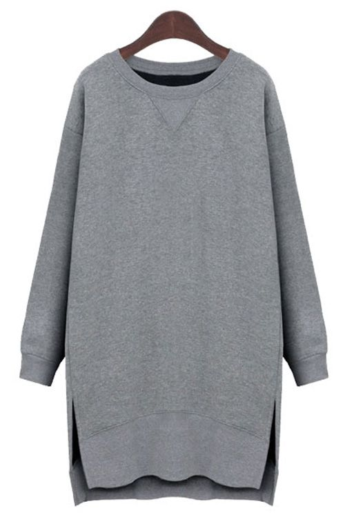 Long Sleeve Side Slit Sweatshirt Dress