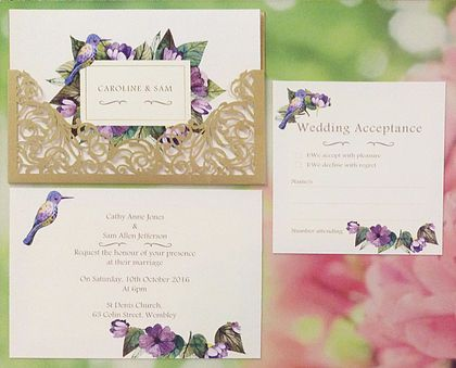 Delicate filigree gold laser cut lace pocket paired with opulent purples & sweet hummingbird printed on linen textured card