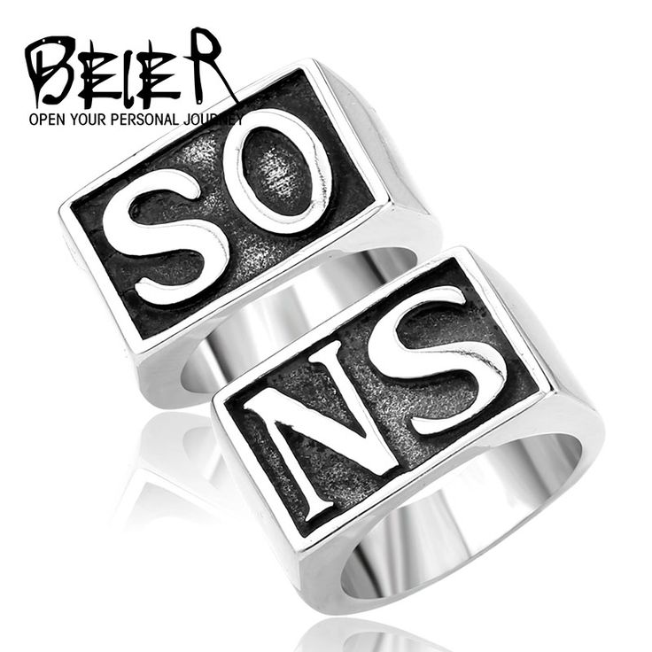 Beier New Store 316L Stainless Steel High Quality Ring Vintage Polish Punk NS SO Smooth Lovers Ring BR8-038