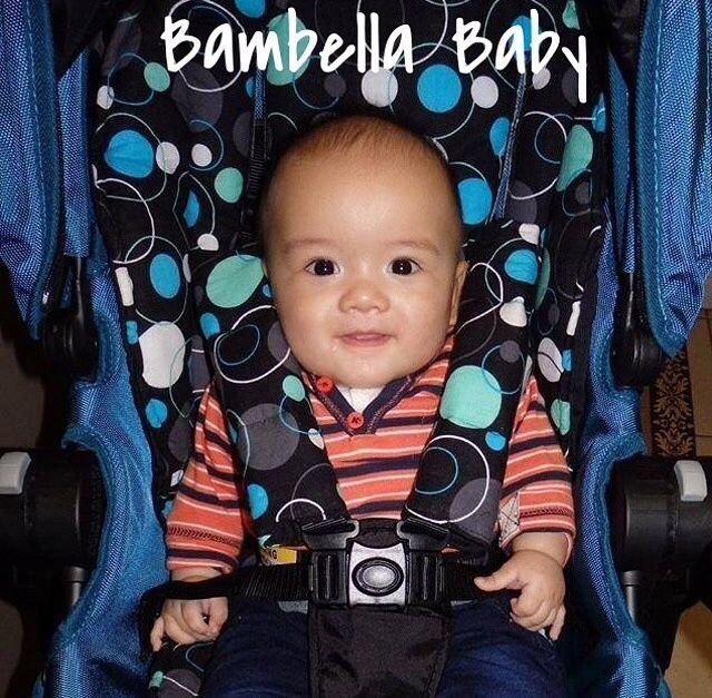 Blue circles Bambella designs exclusive fabric pram liner