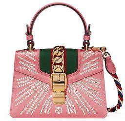 aeb8c916ceb Gucci Sylvie Mini Embellished Satin Top-Handle Satchel Bag