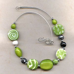 Spring Green necklace made with Kazuri beads