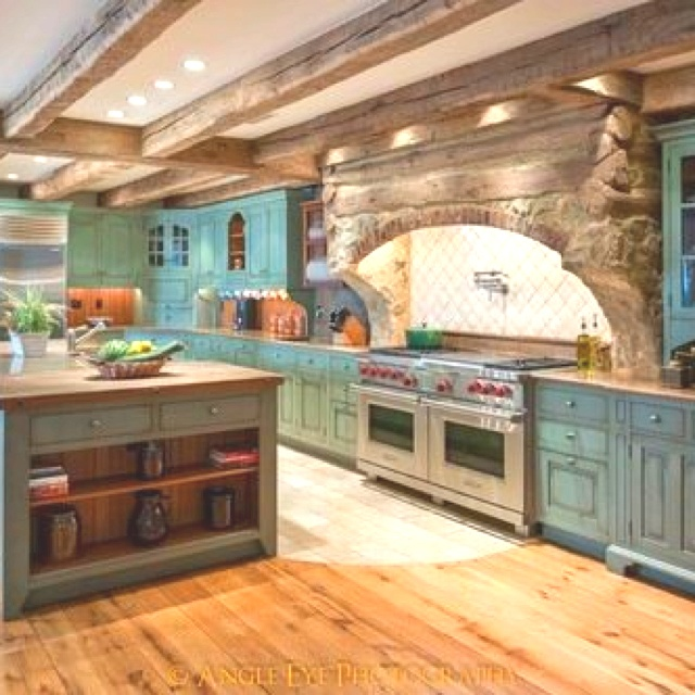 Rustic Chic Kitchen : Ive always wanted a blue-ish kitchen _AA Rustic & chic kitchen