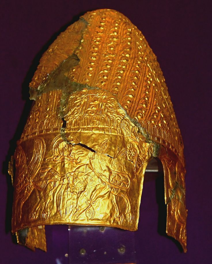 Dacian Gold Helmet from Cucuteni - Băiceni (Iași County), 5th century BCE. National History Museum Bucharest. Incidentally discovered by locals in 1959 in the village Băiceni, Iasi County, and recovered starting in 1961 by the History Museum of Moldavia. The treasure has a weight of 2.5 kg of precious metal (gold). Composed of a helmet, a bracelet, a belt and a number of brackets.