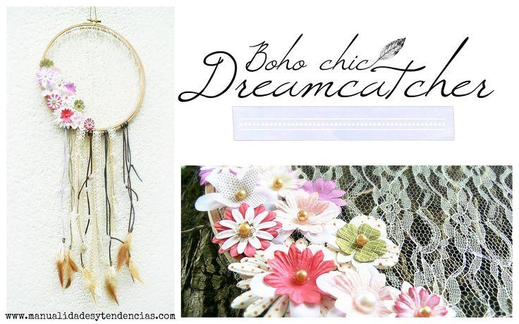 Tutorial atrapasueños boho chic /Dreamcatcher tutorial www.manualidadesytendencias.com #dreamcatcher #atrapasueños #diy #manualidades #boho #shabby #chic #crafts