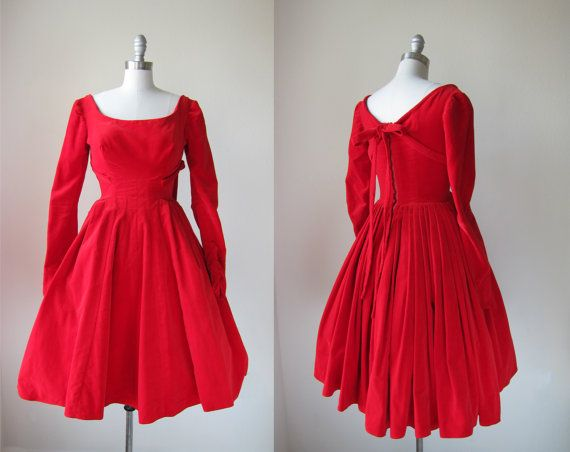 1950's Apple Red Party Dress