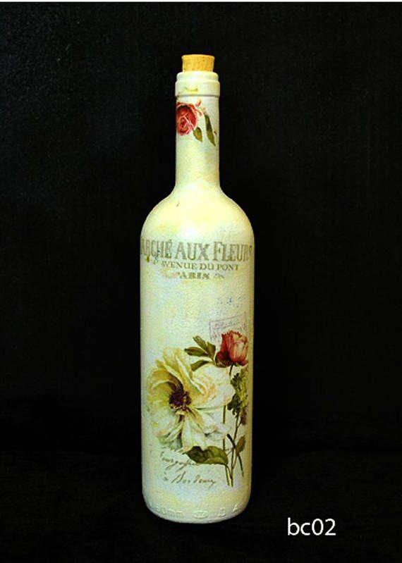 Γυάλινο, ανακυκλωμένο, μπουκάλι, διακοσμημένο με τεχνική decoupage.
