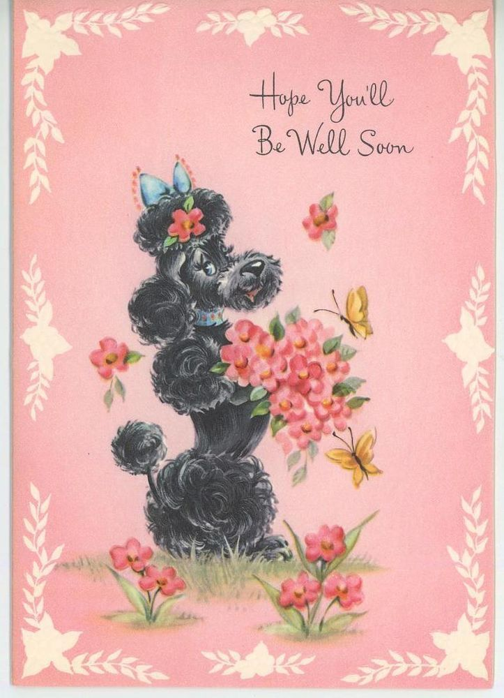 Vintage French Black Poodle Dog Flowers Butterfly Greeting