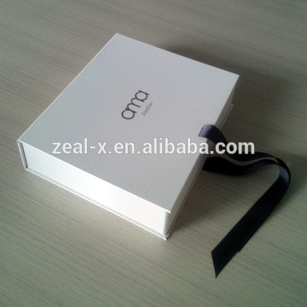 Premium blanco plegadora caja para el vestido de boda cajas de regalo de cartón de embalaje de papel de imprenta