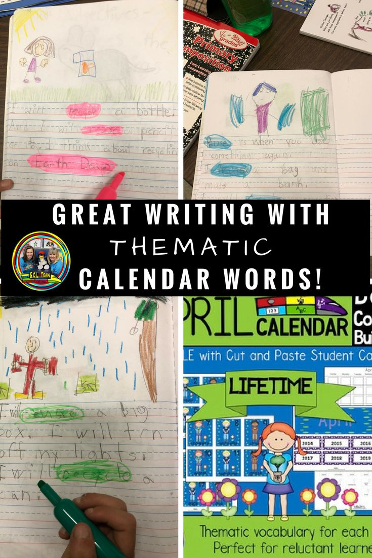 Teachers will see great writing progress, and vocabulary development when their students use these thematic calendar words. It is also a great confidence builder for your young writers. #teachersfollowteachers#spring#activities#calendartime#soltrainlearning#aprilkids#vocabulary#writing#languagearts#primary#elementary#tpt#teacherspayteachers#firstgrade#kindergarten#homeschool#journals#teachingresources