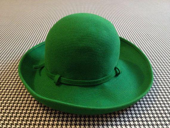 1960's, wool derby hat, in bright, grass green, by Otto Lucas Junior