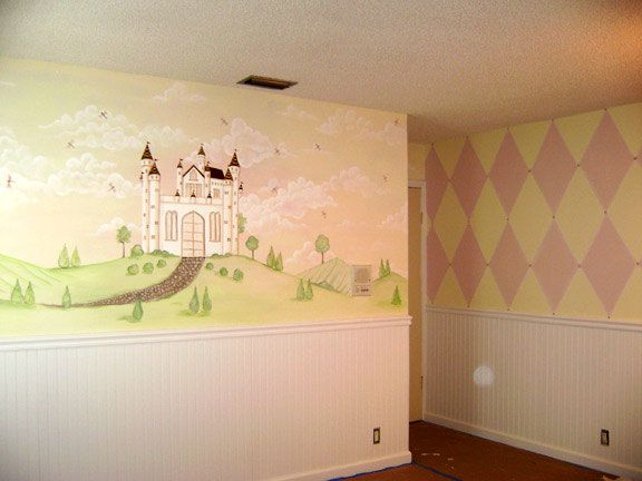 Princess murals for girls room by http;//muralmax.com  The mural  is painted above the chair rail in this bedroom. The client wanted very soft clouds and pastel colors. Having a beautiful mural like this in a little girl's bedroom is as soothing as can be, and gives you a feeling like the fantasy world .  #girlsroom  #princess  #kidsroom #nursery #design