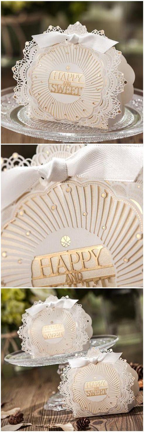 Elegant Ivory Laser Cut Lace Wedding Favor Boxes